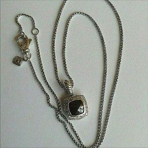 """David Yurman 7x7mm  Garnet Diamond Necklace 18"""""""